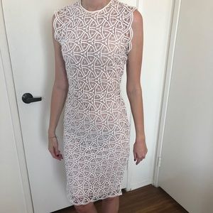 Zara White Lace Sheath Dress